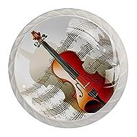 引き出しハンドルキャビネットノブ 4つの引き出しノブのラウンドパック,ヴァイオリン音楽芸術