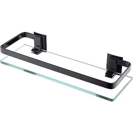 KES Estanteria Baño Aluminio Estanteria Templado Cristal 8mm Extra Gruesa Montado Balda Duchaen la Pared Rectangular Negro, A4126A-BK