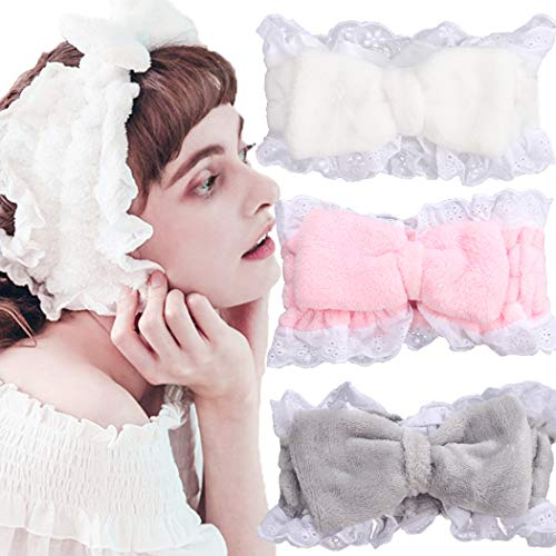 JONKY Vintage Bow Lace Spa Headband White Pink Soft Fabrics Wash Bath Hair Wraps Stretched Yoga Hair Band Best Gift for Women and Girl (Pack of 3) (white,pink,grey)