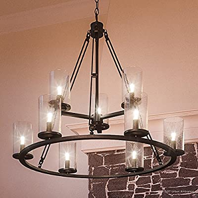 """Luxury Industrial Chandelier, Large Size: 30""""H x 33""""W, with Western Style Elements, Rectangular Link Design, Elegant Estate Bronze Finish and Seeded Glass, UQL2131 by Urban Ambiance"""