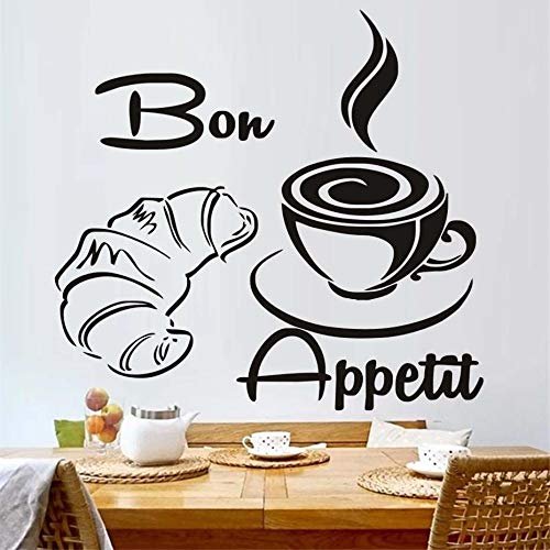 Kaffee Croissant Küche Wandaufkleber Dekoration Küche decoration46X43cm