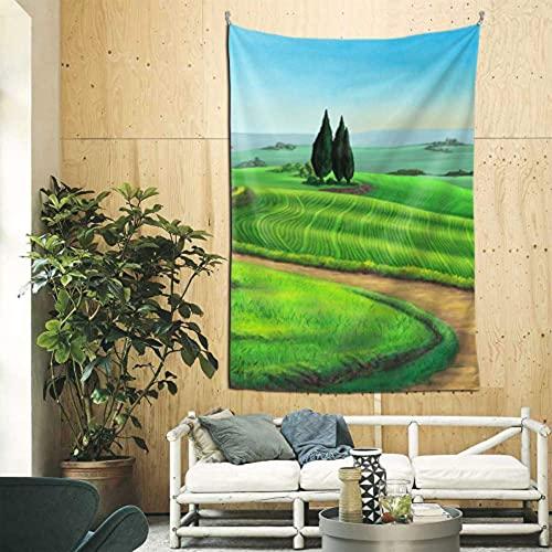 Tapiz de fondo, paisaje rural, Toscana, Italia, puesta de sol, decoración de pared de habitación digital para mujer, arte de pared para apartamento, dormitorio, telón de fondo, decoración del hogar