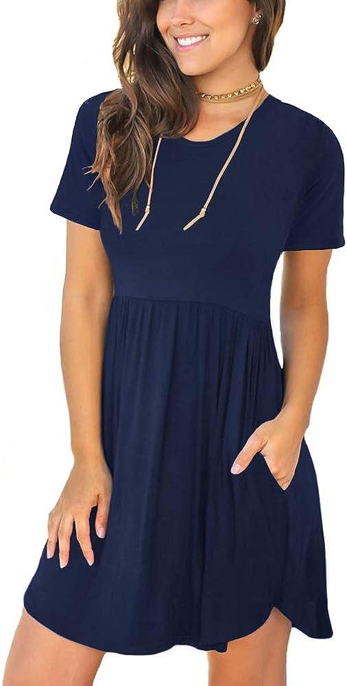 HiMONE Women's Summer Short Sleeve Casual Short Sundresses with Pockets