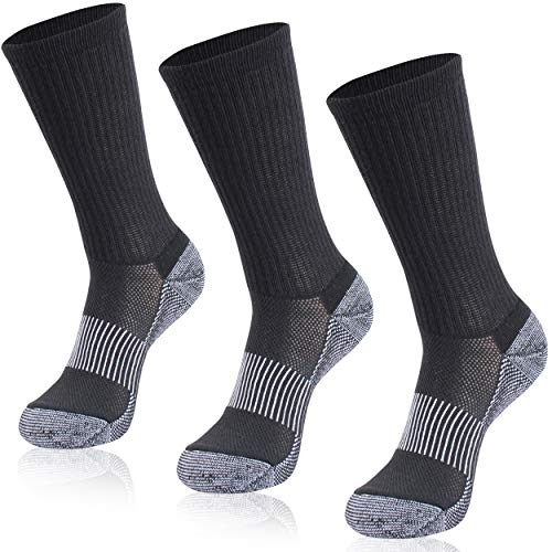 Black Golf Socks, Hissox Mens Boys Mid Length Cushioned Sole Copper Infused Socks Summer Cool Home Gym Fitness Workout Sport Socks Running Jogging Aerobic Exercise Anti Smell Socks 3 Pairs Black,S