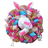 1UTech 2021 Easter Rabbit Wreath Decor Front Door, Thief Bunny Butt with Ears Cartoon Bunny Shape Cute Faceless Doll Decoration Ornaments for Holiday Decor,3