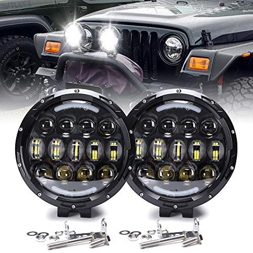 105W Work Lights 7 Inch Round LED High/Low Beam Driving Bumper Light Off Road Driving Light Waterproof for Offroader, Truck, Car, ATV, SUV, Jeep, Construction, Camping, Hunters