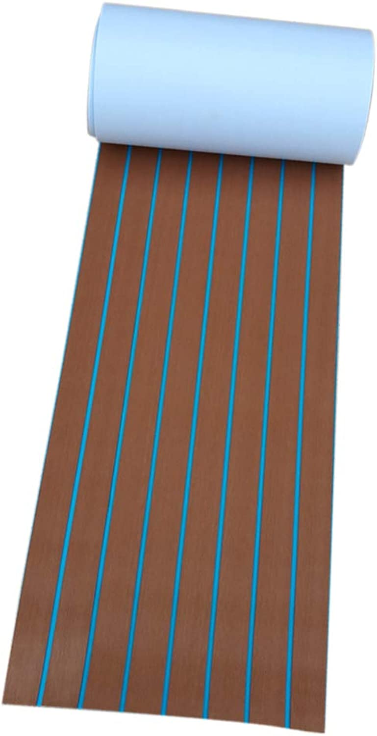 Kesoto EVA Artificial Teak Decking Sheets AntiSlip Flooring Pads for Yacht Barge Brown with blueee Lines