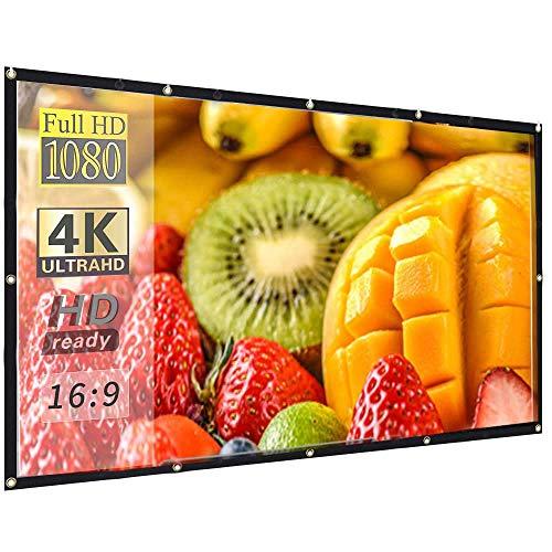 Tela projetora portátil para ambientes externos Hzgang 16:9 HD projeção 4K Home Theater Gaming Office Apresentação educação ao ar livre dentro de casa display público, 150 inch