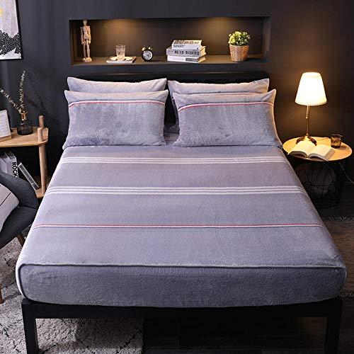 Sábanas Gruesas Ajustadas de vellón de Nieve para Mantener el Calor de Terciopelo sábanas de protección del colchón Cama Individual Doble King-XEl 120cmx200cm