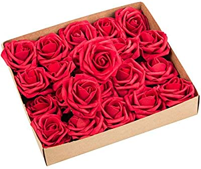 ZOOYOO Artificial Flowers Dark Red Roses 50pcs,Wedding Bridesmaid Bridal Bouquets Centerpieces,Wedding Decorations,Real Looking Fake Roses Stem for Party Decoration,Baby Shower Home Decorations