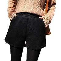 ZLYCP - Pantalones Cortos de Lana para Mujer de otoño e Invierno, Cintura Alta, Holgados, Pantalones de Lana Sueltos, Color Negro Negro Negro (M