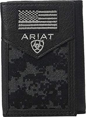Ariat Men's Sport Patriot Trifold Wallet Black One Size