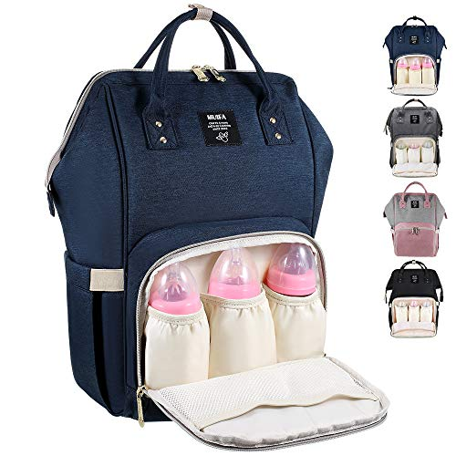 MUIFA Diaper Bag Backpack, Multi-Function Waterproof Travel Backpack Nappy Bag for Baby Care with Insulated Pockets Stroller Straps, Large Capacity, Durable