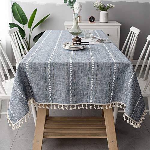 Rayzi Rechteck Durchbrochen Tischdecke,Baumwolle und Leinen Couchtisch Tischtuch,mit Quaste Edge Tischwäsche Maschinenwaschbar für Home Küche Dekoration