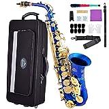 Eastrock Alto Saxophone Eb E-Flat, Instrument à Vent Laqué Doré, pour étudiants et Débutants. Livré avec Coffret, Embouchure et Tapis, Outils de Nettoyage, Chiffon à Alcool, Bleu avec Clé Or
