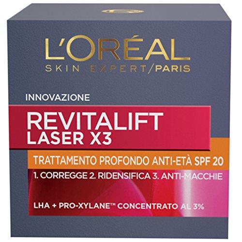 L'Oréal Paris Trattamenti Revitalift Laser X3 Crema Viso Antirughe Anti-Età con Acido Ialuronico e Pro-Xylane di Giorno, Protezione SPF 20, 50 ml