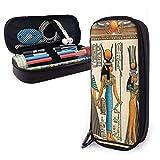 Estuche de piel de gran capacidad con cremallera grande de almacenamiento para bolígrafos, organizador de escritorio, práctico soporte para bolsas Nefertari haciendo una oferta a Isis