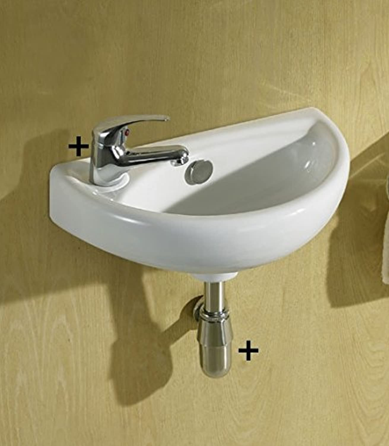 Josh Small Compact Cloakroom Basin Sink Ceramic Wall Hung 395 X 230 Left Hand + Mini Mixer Tap + Slotted Click Clack Waste & Chrome Plated Brass Bottle Trap, Extension Tube (JOSH-LH+V05+BT01)