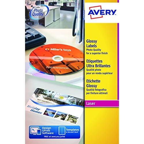 Avery L7767-40 Etichette Lucide, 1 Pezzo per Foglio, 40 Fogli, 210 x 297