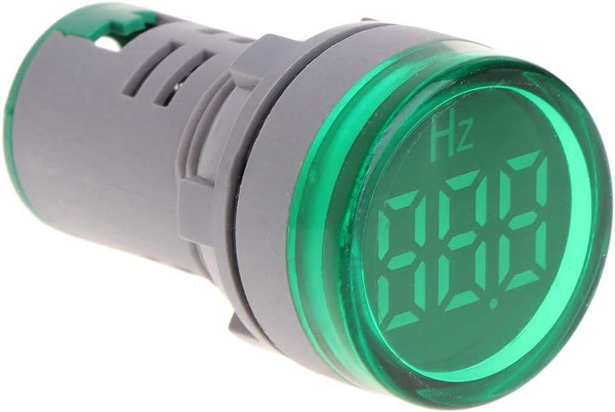 WAHSBAG Medidor de frecuencia, Pantalla LED de 22 mm Medidor de frecuencia de CA Electricidad Indicador de hercios Hz Luz piloto
