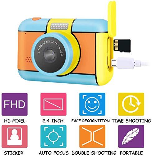 Camara De Fotos Para Niños, Infantil Cámara De Fotos Digital Con 32GB Tarjeta De Memoria, 1080P HD Videocámaras Juguetes, 24 Megapíxeles, Pantalla De 2.4 Pulgadas, Niños Y Niñas Cumpleaños Regalo