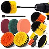 Drill Brush Power Scrubber Brush Set, Herrfilk 12 Pieces Drill Brush Attachment Set with Extend Attachment and Scrub Pads Sponge, Drill Bit Scrub Brush for Cleaning Grout, Car,Tiles, Sinks, Bathtub