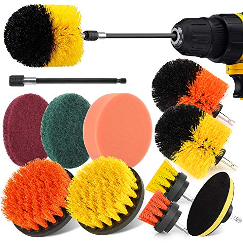 Herrfilk 12 Pieces Drill Brush Attachment Set, Power Scrubber Drill Brush Set for Tub, Grout, Tiles, Sinks, Wheels, Corners and Auto, Bathroom and Kitchen Cleaning Drill Brushes