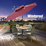 7. Klismos 10 ft 2 Layers Patio Umbrella with 40 Lights Windproof Outdoor Market Table Umbrella with Ventilation,Tilt and Crank(Red)