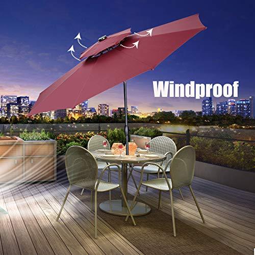Klismos 10 ft 2 Layers Patio Umbrella with 40 LED Solar Lights Windproof Outdoor Market Table Umbrella with Ventilation,Tilt and Crank(Green)