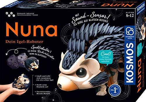 Kosmos 620066 Nuna - Dein Igel-Roboter, Rückwärtsrollen durch klatschen, Er Läuft, rollt sich zusammen, stellt seine Stacheln auf, wie ein echter Igel, Faszinierender Bionik-Modell Experimentierkasten