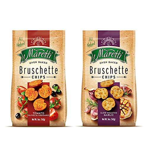 Maretti - Bruschette Chips - All Natural Oven Baked Bagel Chips - Good for Vegetarians - Party Snacks Thin Bagels - No Artificial Colors and Flavor 5 oz. (Pack of 6)…
