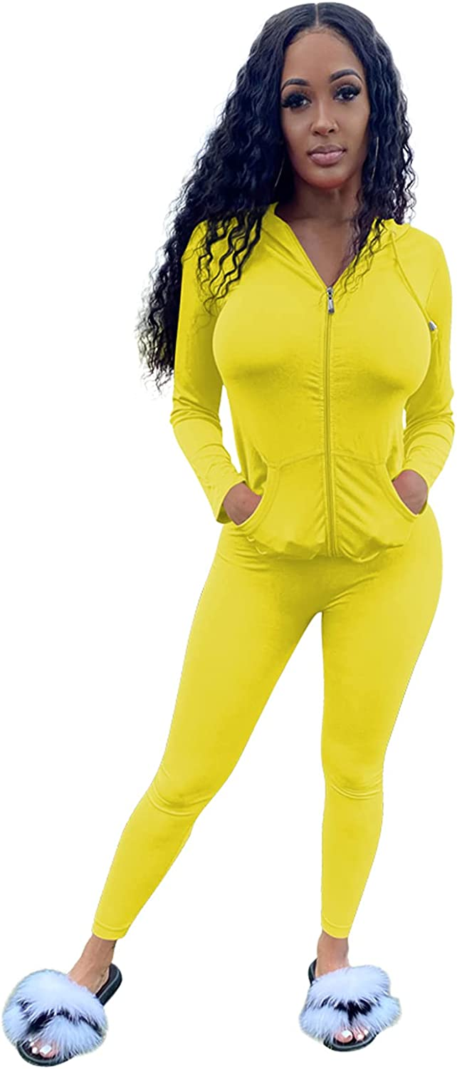 Womens 2 Piece Outfits Sexy Long Sleeve Zip Hoodies Sweatshirts Workout Sets Bodycon Pants Gym Tracksuits Sweatsuits