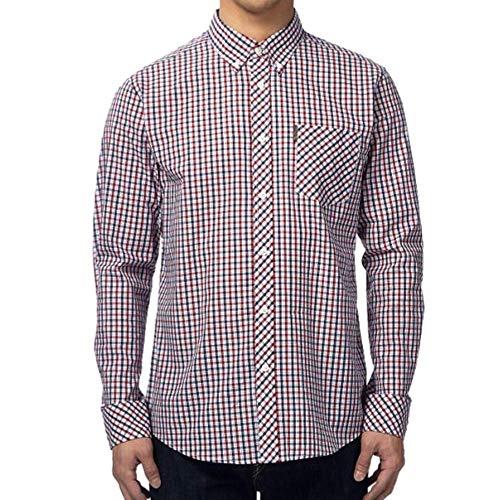 Photo of Ben Sherman Long Sleeve Shirt House Check Button Down Collar (MA00576) Red/Navy/White (Medium)