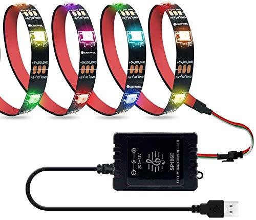 DreamColor Strip Lights TV Backlight Strip Kit with LED Music Controller,6.56FT/2M USB Powered RGB Addressable LED Lights Color Changing RF Remote for TV, Games,Home