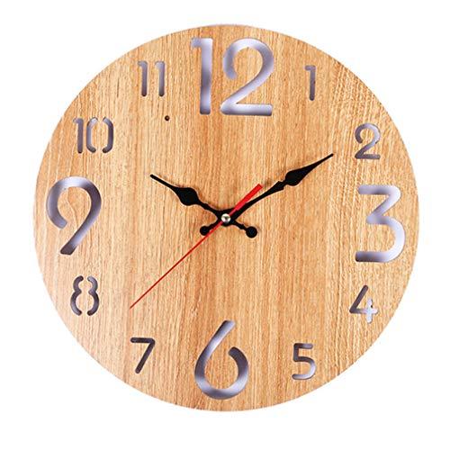 JYCTD Moderno Reloj De Pared Madera, Gran NúMero De Pantalla 3D Sin Tictac Silencio Cuarzo Decorativo Bueno Decorativo para Cocina Sala Estar Dormitorio BañO Dormitorio Oficina, Beige