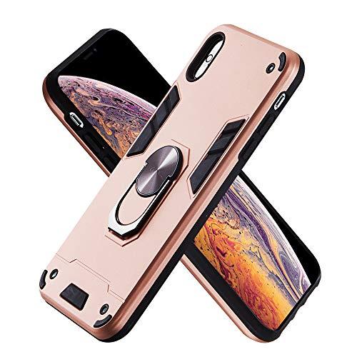 Armure Coque iPhone XS Max(6.5 inch), Boîtier PC + TPU Double Layer Housse résistant aux Chocs avec Support à Anneau Rotatif à 360 degrés (Or Rose)