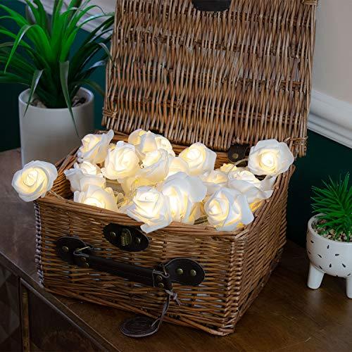 30 LED White Rose Fairy Lights String Lights Battery Operated Flower Fairy Lights Premium