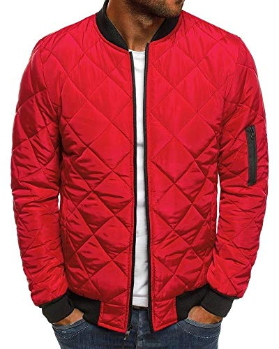 Pengfei Mens Jackets Bomber Varsity Diamond Quilted Spring Coats Outwear (XX-Large, Red)