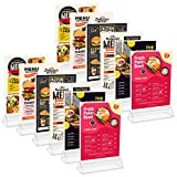 Kurtzy Porta Carteles A6 (Pack de 12) 11 x 19,5 cm - Expositor Transparente de Plástico Doble Cara en Vertical de Sobremesa - Portamenus Mesa, Marco de Fotos, Atril para Publicidad