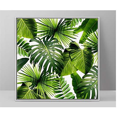 chtshjdtb Grüne Pflanze frische nordische Moderne dekorative Malerei Palm Blätter Wand Kunst Leinwand Bild -50x50cmX1 Stück kein Rahmen
