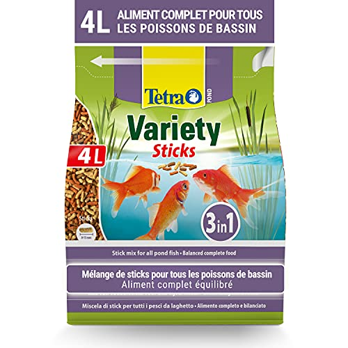 Tetra Pond Variety Sticks – Mélange Complet d'Aliments en Stick pour tous les Poissons de Bassin - Enrichis en Oligo-éléments, Vitamines essentiels, Caroténoïdes, Fibres - Ne pollue pas l'eau – 4 L