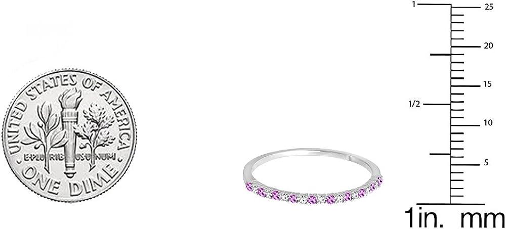 Dazzlingrock Collection 10K Gold Round Amethyst & White Diamond Ladies Anniversary Stackable Wedding Band