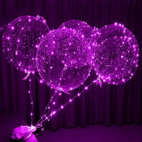 LDTSWES 4 Piezas Globo Luminoso LED Transparente Burbuja Redonda Fiesta de cumpleaños decoración de la Boda Globo LED Burbuja bebé niños Juguete-púrpura