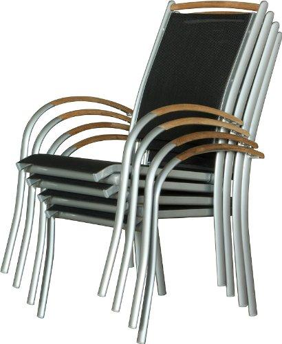 IB-Style - Diplomat Gartenstuhlset Stapelbar | ALU SILBERMATT + TEAKHOLZ + Textilen SCHWARZ | 2 Farben | 3 Set- Kombinationen | Mehrfach gewebt- 4er Set