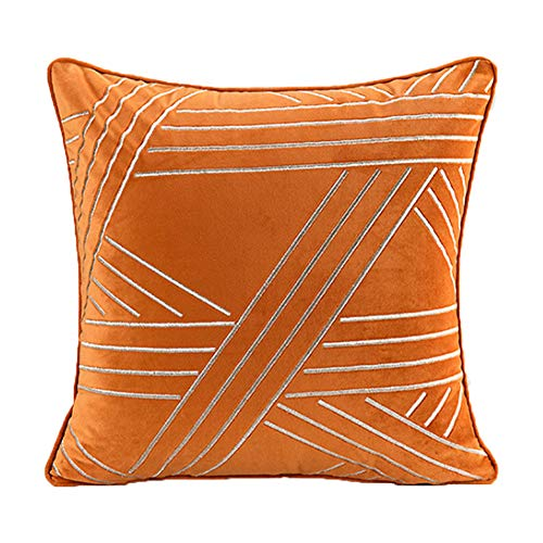 ZUODU Orange Velvet Cushion Cover Embroidery Cushion Cover Jacquard Pillowcases Sofa Cushion Covers Protectors for Home Decorating Bedroom Living Room 45 x 45 CM (H)