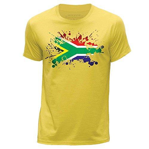 Stuff4 Herren/Mittel (M)/Gelb/Rundhals T-Shirt/Südafrika/Afrikanisch Flagge Splat