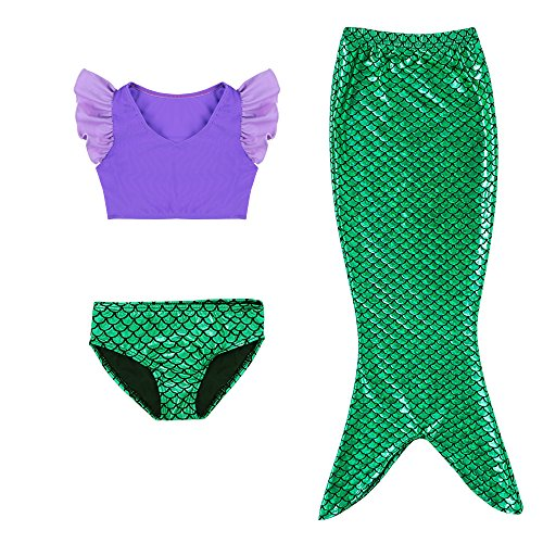 Kleine Mädchen lila Sport Weste mit Fin Swimmable Meerjungfrau Schwanz Badeanzug Meerjungfrau Kostüm (130(7-8Y))