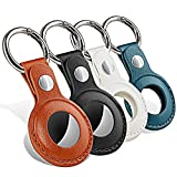PUiKUS Protective Case for AirTag, 4-Pack Genuine Leather Tracker Holder with Key Chain, Easy Carry AirTag Cover for Keys, Backpacks, Liner Bags, Pet Collar