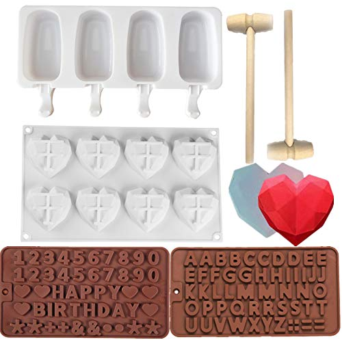 8 Cup Diamond Heart MoldsSilicone Popsicle Molds oval Ice Pop 4 Cavities Baking Popsicle Molds50 Wooden Sticks with Silicone Letter Mold and 2 Pieces Number/Letter Chocolate Molds