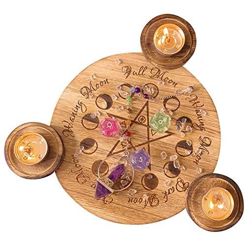 Further Kerzenhalter aus Holz, einzigartiger Pentagramm-Teelichthalter, Tarot-Kerze, Kerzenhalter, Dekoration, Pentagramm, handgeschnitzt, Holz mit 3 Teelichthaltern